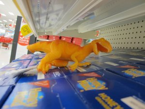 A dinosaur in with the graham crackers.