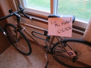 A lovie note on my bike before I left to run a race in 106 degree heat.
