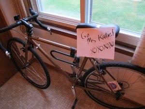 A lovie note on my bike before I left to run a race in 106 degree heat.